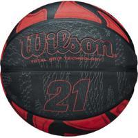 Bola De Basquete Wilson - 21 Series Preto Vermelho