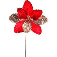 Flor Decorativa- Vermelha & Dourada- 40X20X20Cm-Cromus