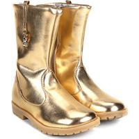 Bota Infantil Cano Médio Ortopé Baby Boot Masculina - Feminino-Ouro