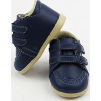 Sapato Bebê Masculino Azul Marinho Com Solado E Velcro-G - Masculino-Marinho