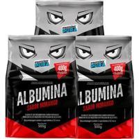 Kit 3X Albumina 500G - Proteína Pura - Unissex-Morango