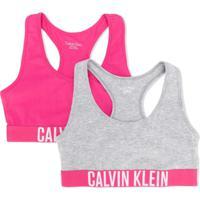 Calvin Klein Kids Conjunto 2 Peças De Sutiã Com Logo - Cinza