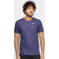 Camiseta Nike Miler Tech Top Masculina - Masculino-Azul+Prata