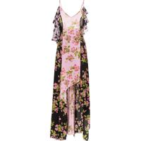 Natasha Zinko Rose Print Silk Maxi Dress - Rosa