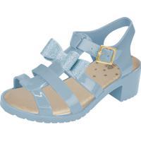 Sandália Flib Infantil Salto Laço Com Glitter Azul