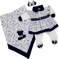 Kit Saída Maternidade I9 Baby 3 Peças Floral Azul