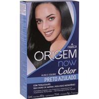 Creme Alisante Origem Color Now Preto Azulado Alisa Colore S/ Cheiro Amônia Resultado Instantâneo 80G