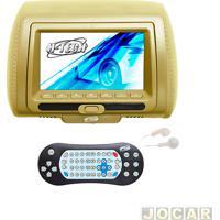 """Encosto De Cabeça Com Monitor - H-Tech - Com Tela De 7"""" Led, Controle, Compatível Com Mp3, Mp4, Mp5 - Bege - Cada (Unidade) - Ht-Ec6000"""