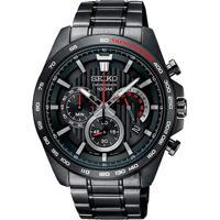 Relógio Seiko Masculino Ssb311B1 P1Px Cronógrafo Pulseira E Caixa Aço Preto Mostrador Preto