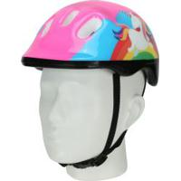 Kit Proteção Para Bike Spin Unicórnio Com 1 Par: Joelheiras + Cotoveleiras + 1 Capacete - Infantil - Rosa