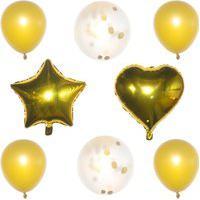 Kit 08 Balões Buque Látex/Metalizado - Dourado