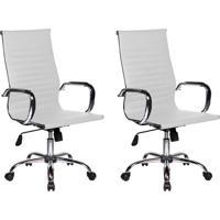 Conjunto Com 2 Cadeiras De Escritório Best Presidente Branco