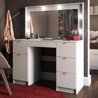 Penteadeira Camarim Napoli Com Espelho Branco - Pnr Móveis