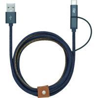 Cabo Micro Usb E Type C- Azul Escuro- 150Cm- Chii2Go