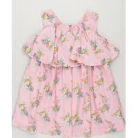 Vestido Infantil Curto Estampado Floral Com Babado Sem Manga Decote Redondo Em Algodão + Sustentável Rosa
