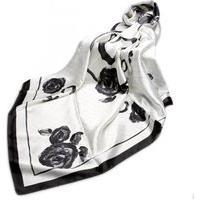 Lenço De Seda Estampado Artestore Grande Echarpe. Xale, Preto E Branco