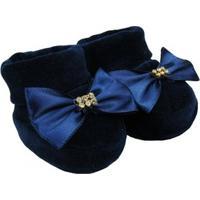 Sapatinho Bebê Feminino Plush Azul Marinho - Feminino-Marinho
