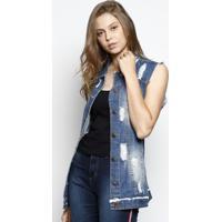 Colete Jeans Com Destroyed- Azul- Zamany Jeanszamany Jeans