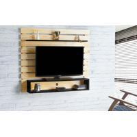 Painel De Tv Para Sala Standby - Rack De Parede Para Tv Até 60 Polegadas Natural E Preto - 135X23X115 Cm
