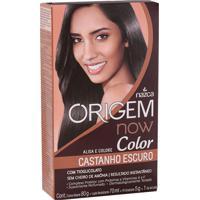 Creme Alisante Origem Color Now Castanho Escuro Alisa Colore S/ Cheiro Amônia Resultado Instantâneo 80G