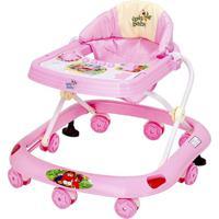 Andador Infantil Musical Proteção Antiqueda Regula Altura Rosa
