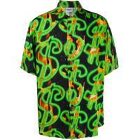 Sss World Corp Camisa Mangas Curtas Com Estampa De Dólar - Preto