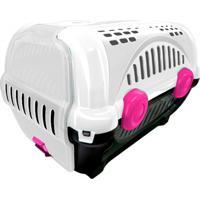 Caixa De Transporte Para Pets Luxo 30,5X34,5Cm Branca E Rosa