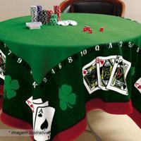 Toalha De Mesa Jocker- Verde & Vermelha- 155X155Cm