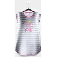 Pijama Infantil Candy Kids Camisola Meia Malha Listras - Feminino-Marinho