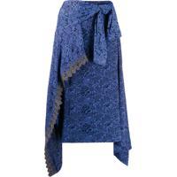 Chloé Saia Envelope Midi Assimétrica - Azul