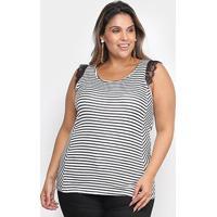 Blusa Cativa Mais Plus Size Listras Renda Feminina - Feminino-Branco