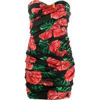Dolce & Gabbana Vestido Tomara Que Caia Franzido Com Estampa Laceleaf - Preto