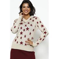 Blusa Em Tricot Estrelas- Bege & Vermelha- Ponto Aguponto Aguiar