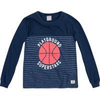 "Camiseta ""Playground Superstars""- Azul Marinho & Vermelhhering"