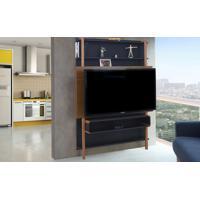 Painel De Tv Para Quarto Preto Com Freijó - Painel De Parede Tv Até 60 Polegadas Karl Woodinn - 134X25,5X180 Cm