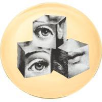Fornasetti Prato Com Estampa 'Block Face' - Dourado