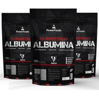 Kit 3X Monster Albumina 500G - Powerfoods - Unissex