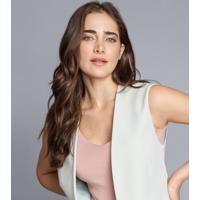 Blusa Decote V Tricô Bege Papiro - Lez A Lez