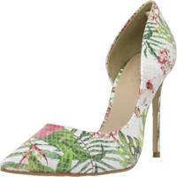 Sapato Feminino Scarpin Shepz Couro Floral