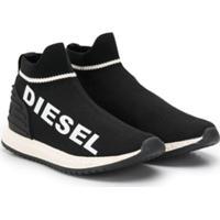 Diesel Kids Logo Print Sneakers - Preto