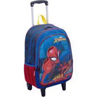 Mochila Infantil Sestini Spiderman Com Rodinhas - Masculino-Azul