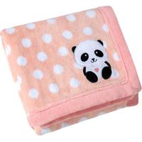 Manta Para Bebê Lepper Bordada E Estampada Mini Panda Rosa