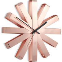 Relógio De Parede Ribbon Aço Inox 30,5 Cm Cobre Umbra