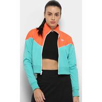 Jaqueta Nike Sportwear Heritage Track Feminina - Feminino-Azul Turquesa+Laranja