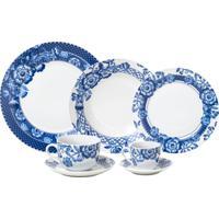 Aparelho De Jantar Wolff Santorini 42 Peças Porcelana Branco/Azul