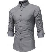 Camisa Slim Fit Forro Quadriculado - Cinza