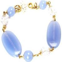 Pulseira Barbara Strauss Semi Joia Hillss Em Resina Lalique Rev Em Ouro 18K - Feminino-Azul Claro