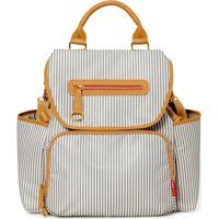 Bolsa Maternidade Skip Hop Coleção Grand Central Take-It-All Backpack - Unissex-Branco+Caramelo