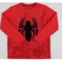 CEA  Camiseta Infantil Homem Aranha Manga Longa Gola Careca Vermelha cb8fb0cd5bee9