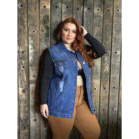 Colete Plus Size Jeans Maxi